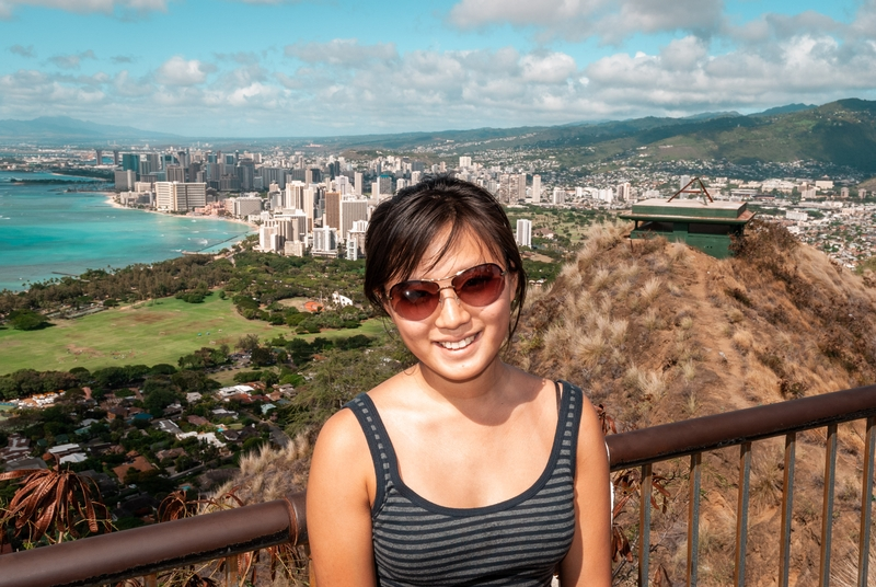 Jessica atop Diamond Head