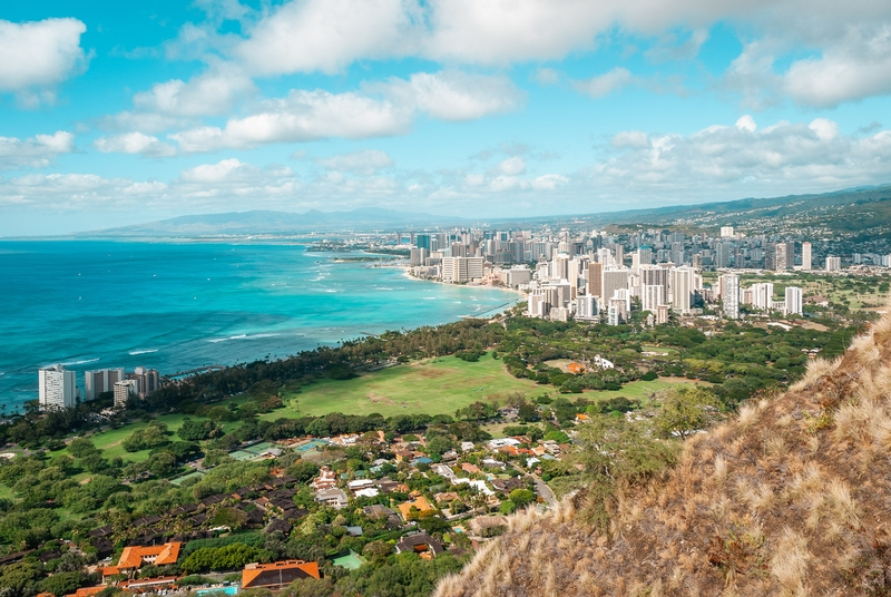 Looking out over Honolulu from the top of Diamond Head 2