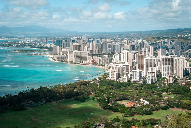 Looking out over Honolulu from the top of Diamond Head