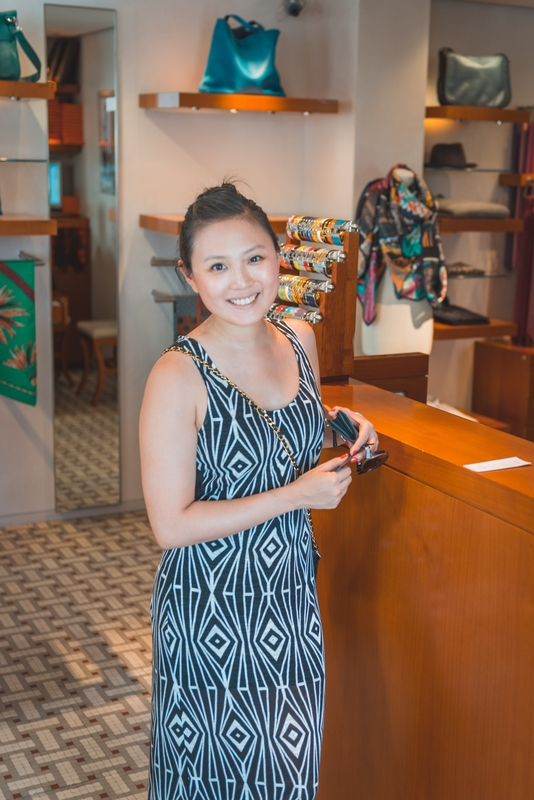 Jessica at the Hermes Boutique in Gustavia