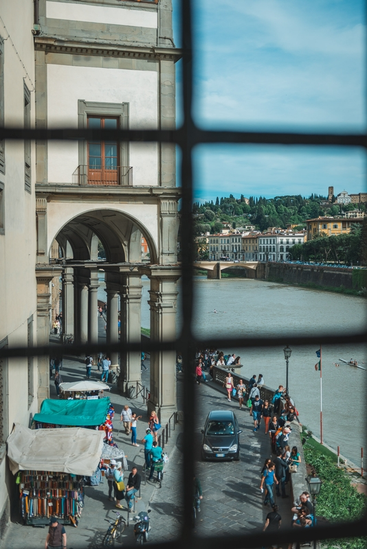 The Arno from Inside the Ponte Vecchio