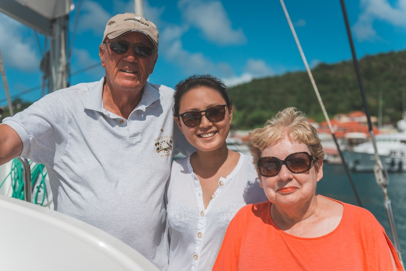 Warren Jessica and Lynn back at Gustavia Harbor