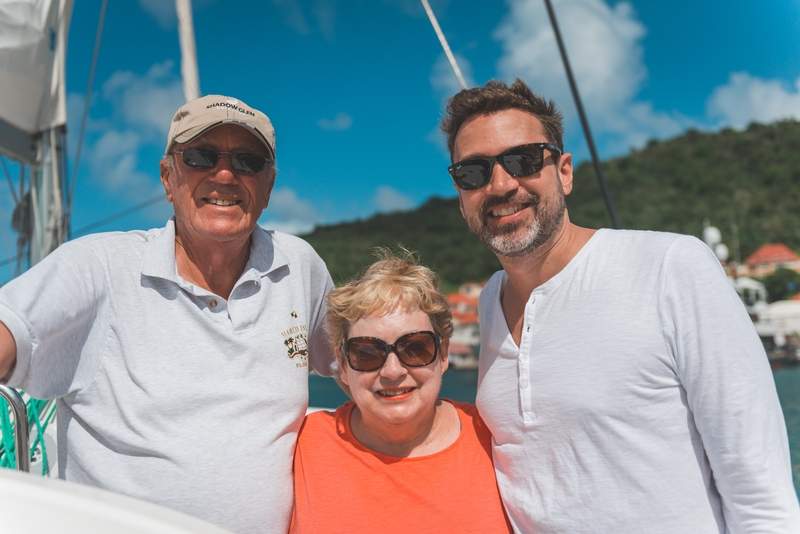 Warren Lynn and Kris back at Gustavia Harbor