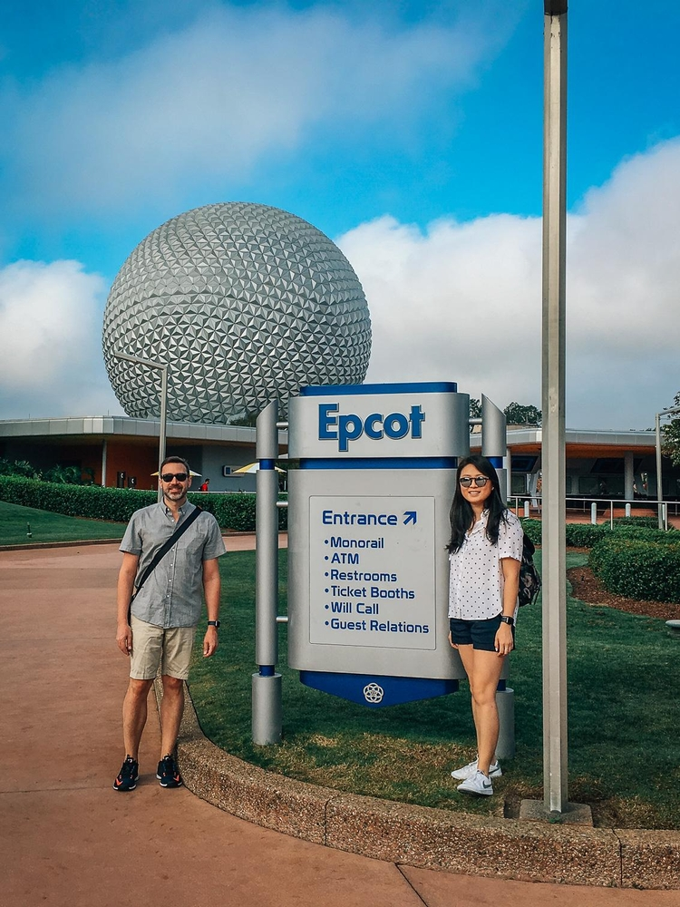 Kris and Jessica at the Entrance to EPCOT 2