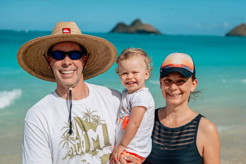 The McDermotters in Hawaii on Lanikai Beach