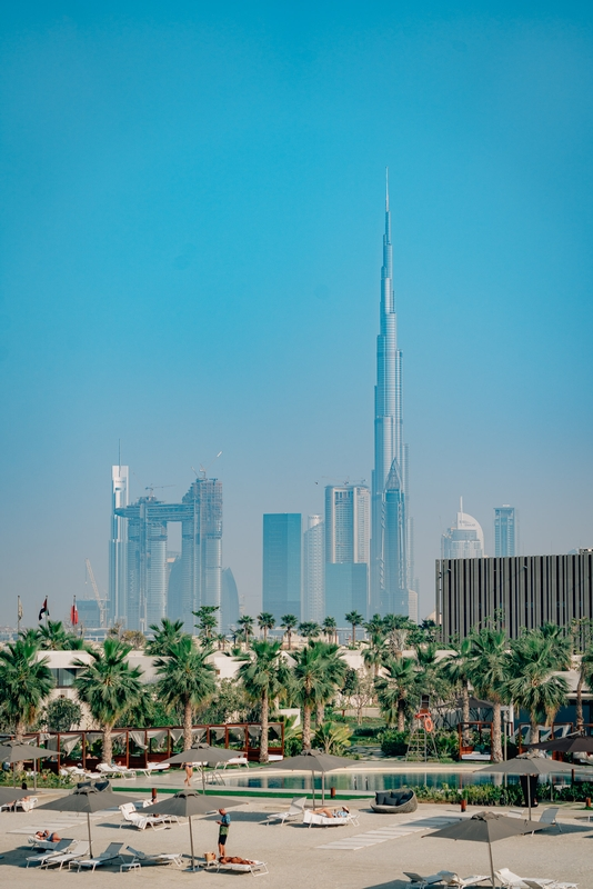 The Dubai Skyline above the Pool