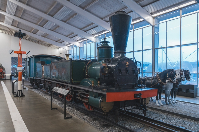A Steam Locomotive at the Swiss Transport Museum